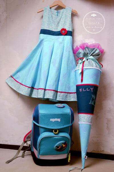 Kleid, Schultüte, Ranzen zur Einschulung einheitlichen Look.